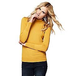 Red Herring - Dark yellow roll neck frill shoulder jumper
