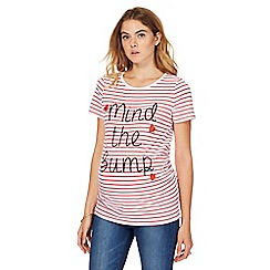 Red Herring Maternity - White and dark pink striped 'Mind The Bump' maternity t-shirt