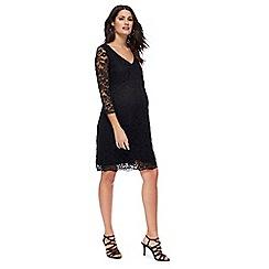 Red Herring Maternity - Black lace V-neck knee length maternity dress