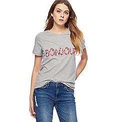 Red Herring - Grey 'Bonjour' embroidered t-shirt