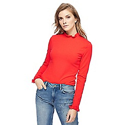 Red Herring - Red frilled trim roll neck top