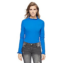 Red Herring - Blue frilled trim roll neck top