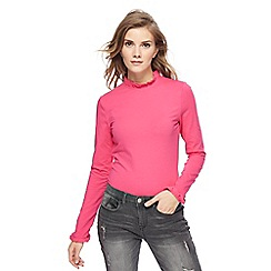 Red Herring - Pink frilled trim roll neck top