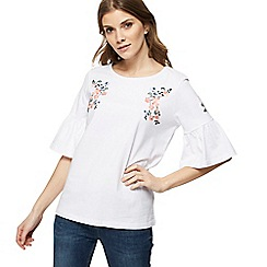 Red Herring - White floral embroidered frill sleeve top