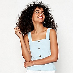 Red Herring - Blue cotton blend button camisole top