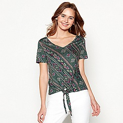 Red Herring - Green Aztec print tie front top