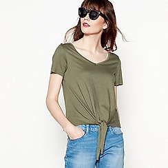 Red Herring - Khaki tie front top