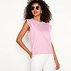 Red Herring - Pink broderie cotton short sleeve shell top