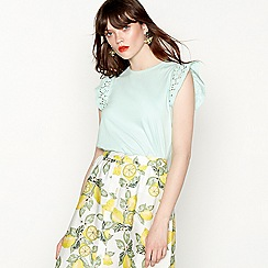 Red Herring - Green cotton frill broderie cap sleeve top