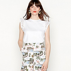 Red Herring - White cotton frill broderie cap sleeve top