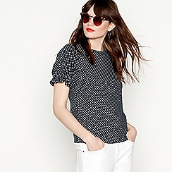 Red Herring - Navy spot print pure cotton short puff sleeve blouse