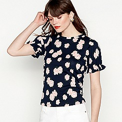 Red Herring - Navy floral print pure cotton short puff sleeve blouse