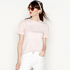 Red Herring - Pink pure cotton short puff sleeve blouse