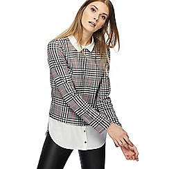 Red Herring - Black and white dogtooth checked mock top