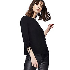 Red Herring - Black ruched sleeve shell top