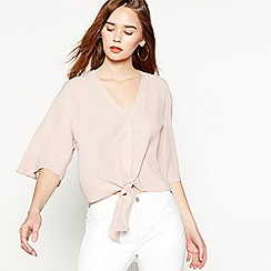 Red Herring - Light pink tie front blouse
