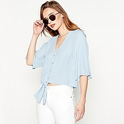 Red Herring - Light blue tie front blouse
