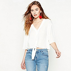 Red Herring - Ivory tie front blouse