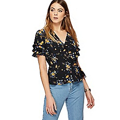 Red Herring - Black floral print frill sleeve top