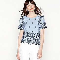 Red Herring - Blue striped Broderie Anglaise top