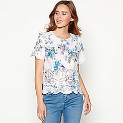 Red Herring - Lilac 'Sophia floral broderie anglaise top