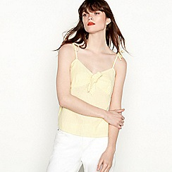 Red Herring - Yellow and white striped tie front camisole top