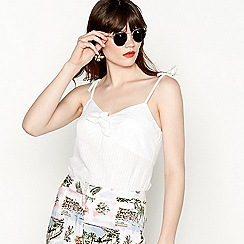 Red Herring - White cotton stripe tie-front camisole top