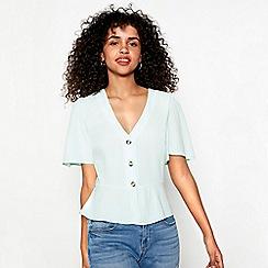 Red Herring - Green V-neck short sleeve tea blouse