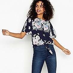 Red Herring - Blue floral print crew neck short sleeve tie-front top