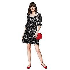 Red Herring - Black paisley print square neck mini skater dress