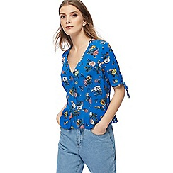 Red Herring - Blue floral print frilled hem top