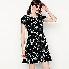 Red Herring - Black floral print cotton blend knee length skater dress