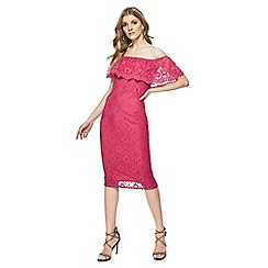 Red Herring - Bright pink lace short sleeve knee length Bardot dress