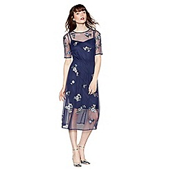 Red Herring - Navy floral embroidered mesh dress