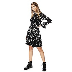 Red Herring - Black swallow print high neck long sleeves knee length skater dress