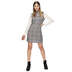 Red Herring - Black and white dogtooth checked high neck long sleeves mini dress