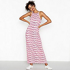 Red Herring - Rose pink Chinle print high neck full length maxi dress