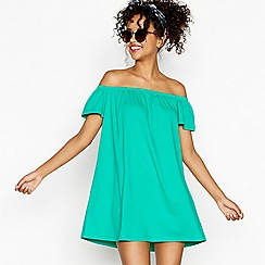 Red Herring - Green cotton bardot neck mini dress