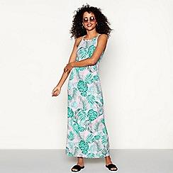 Red Herring - Pink palm leaf print 'Margarita' maxi dress