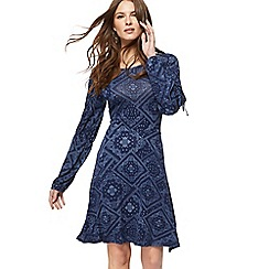 Red Herring - Navy tile print jersey long sleeves knee length dress