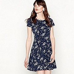 Red Herring - Navy star print cotton blend knee length skater dress