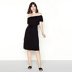 Red Herring - Black knee length bardot dress