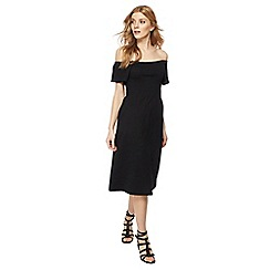 Red Herring - Black short sleeve midi length Bardot dress