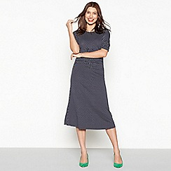 Red Herring - Navy jersey spot print short sleeve midi dress