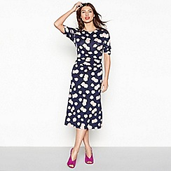 Red Herring - Navy jersey floral print short sleeve midi dress