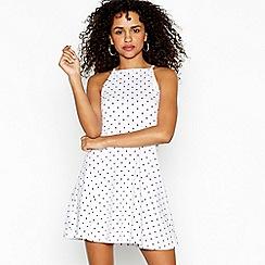 Red Herring - White spotted high neck mini skater dress