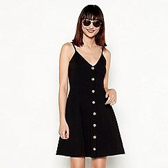 Red Herring - Black cotton blend V-neck knee length skater dress