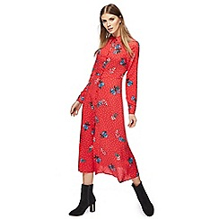 Red Herring - Red floral print long sleeves maxi shirt dress