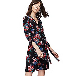 Red Herring - Black pop art floral print v-neck knee length wrap dress