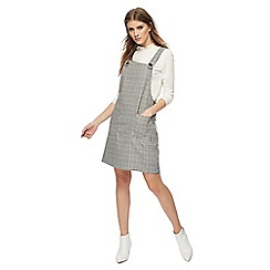 Red Herring - Black and white houndstooth checked mini pinafore dress